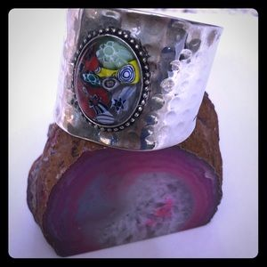Thrift boho cuff bracelet with glass bead accent.